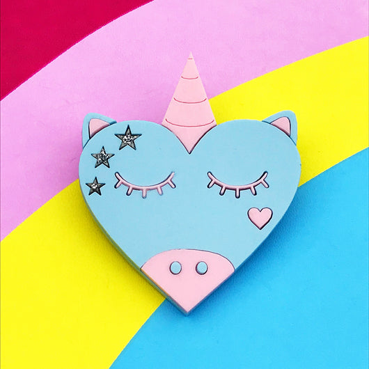 kawaii unicorn acrylic brooch