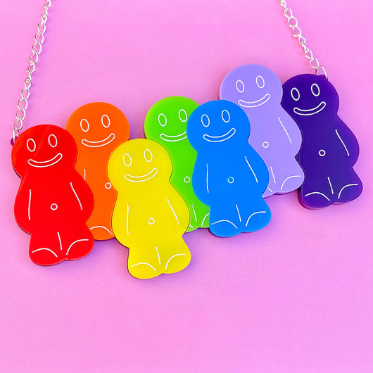 Colourful jelly baby acrylic necklace