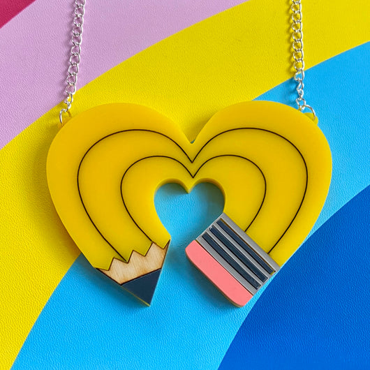 yellow acrylic pencil heart necklace