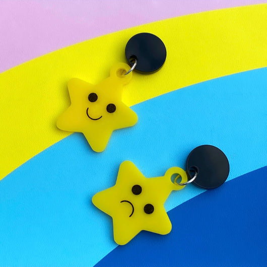 Happy and sad star earrings