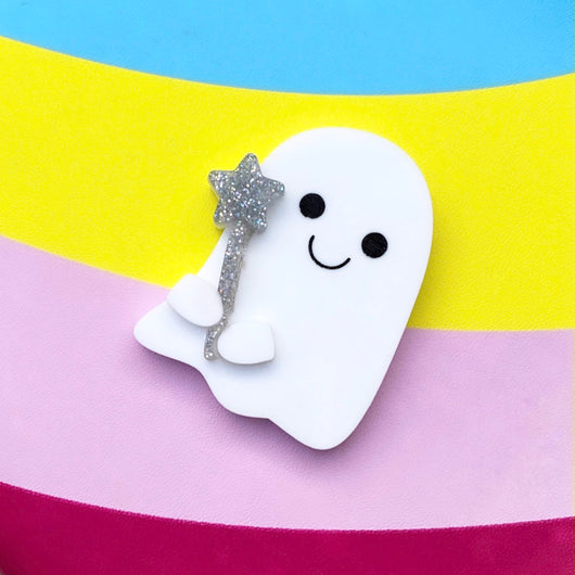 Glitter wand and ghost brooch