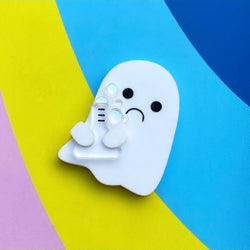 Acrylic ghost brooch with potion