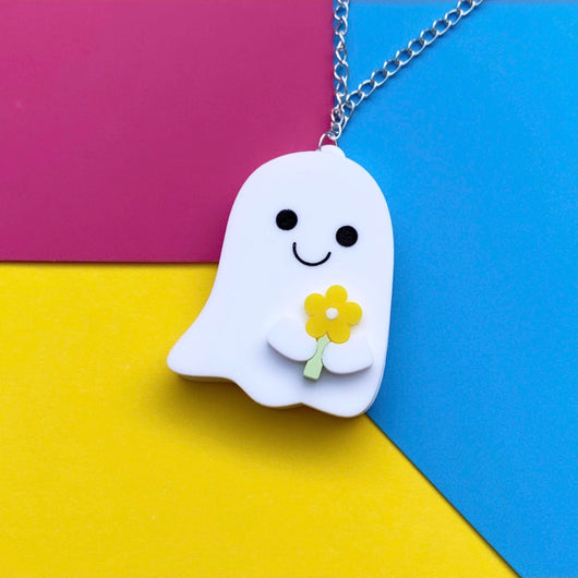 Acrylic ghost and flower necklace