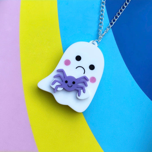 Ghost and spider acrylic necklace