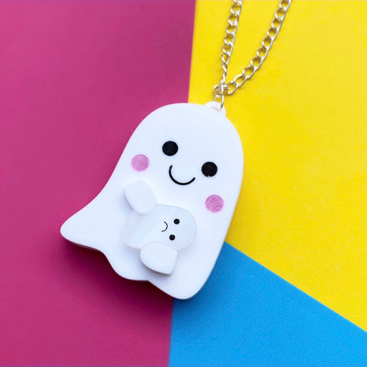 kawaii ghost acrylic necklace
