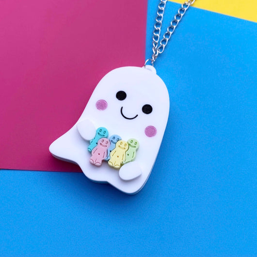 Acrylic ghost and jelly baby necklace