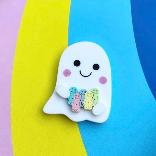 Acrylic ghost and jelly babies brooch