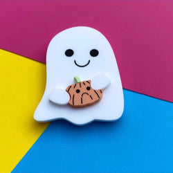 Ghost and pumpkin brooch