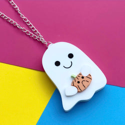Acrylic ghost and pumpkin necklace