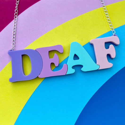 Pastel acrylic deaf letter necklace
