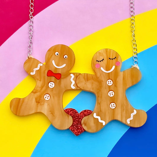 Gingerbread man acrylic necklace