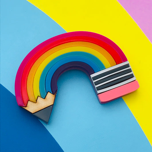 Pencil rainbow Perspex acrylic brooch