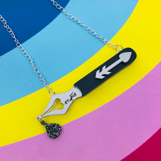 Mighty Fountain pen Perspex acrylic necklace