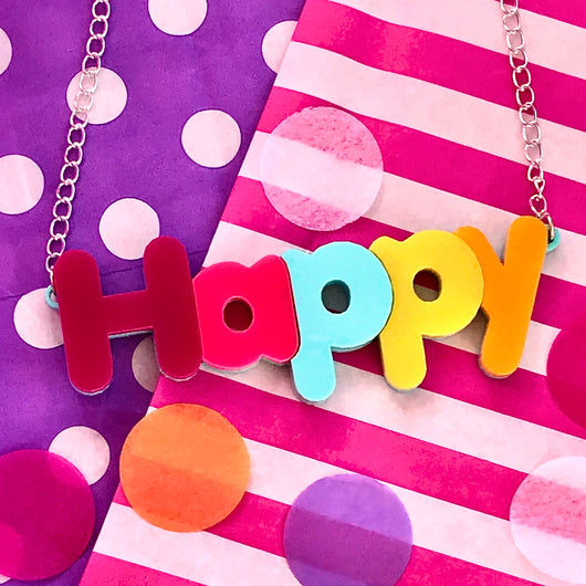 Happy Acrylic Necklace
