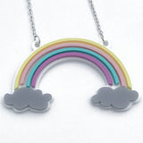 laser cut acrylic rainbow necklace