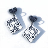 quirky acrylic bingo earrings