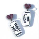 bus ticket and heart laser cut acrylic earrings