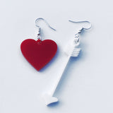 Acrylic Heart and Arrow Drop Earrings