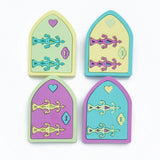 pastel kawaii acrylic fair door brooch