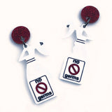 spray bottle acrylic earrings