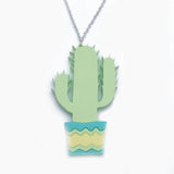 pistachio pastel green acrylic cactus necklace
