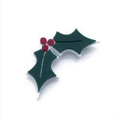 Holly Brooch - Glitter berries