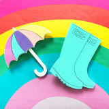 pastel acrylic welly boot and umbrella brooches