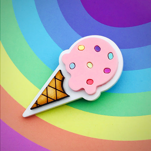 Laser cut acrylic Ice cream brooch