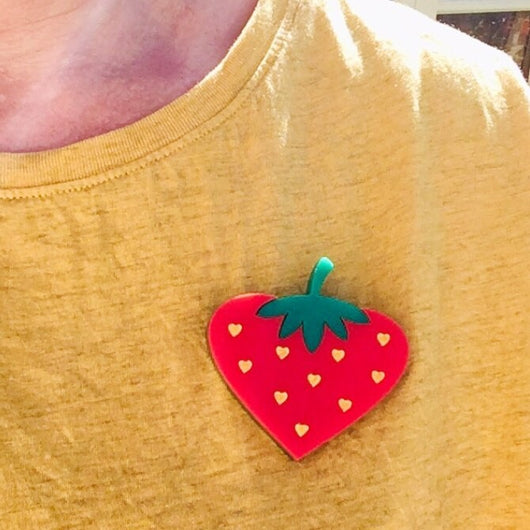 laser cut acrylic strawberry brooch