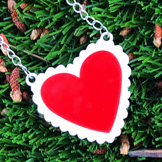 red and white perspex acrylic laser cut heart necklace