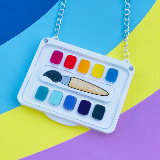 Paint Palette and Brush Necklace