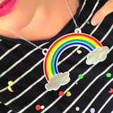 laser cut Perspex acrylic rainbow necklace