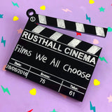 Custom acrylic clapperboard brooch