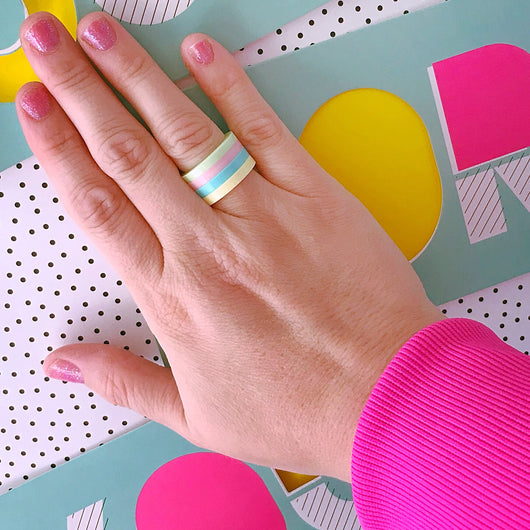 pastel rainbow acrylic ring
