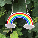 laser cut rainbow necklace