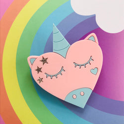 pastel unicorn heart brooch