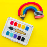 Pencil rainbow and paint palette Perspex acrylic brooch