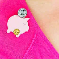 acrylic piggy bank brooch