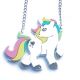 laser cut acrylic unicorn pony necklace