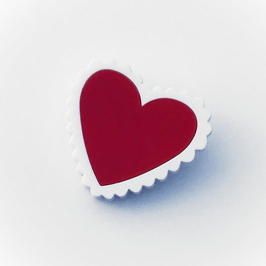 red and white Perspex laser cut acrylic heart brooch