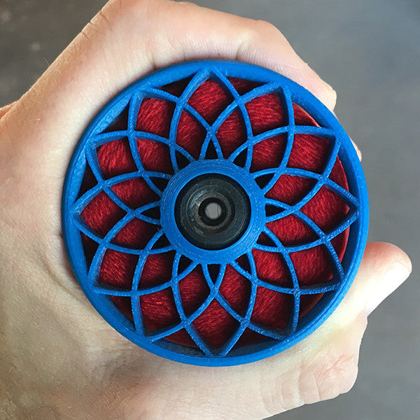 Flat-Pack Bobbin with Lotus whorls in Berry Blue