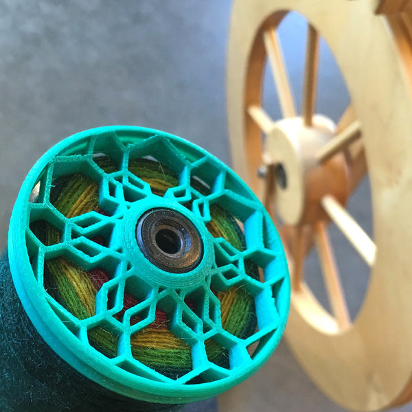 Flat-Pack Bobbin with Honeycomb whorls in Emerald Green