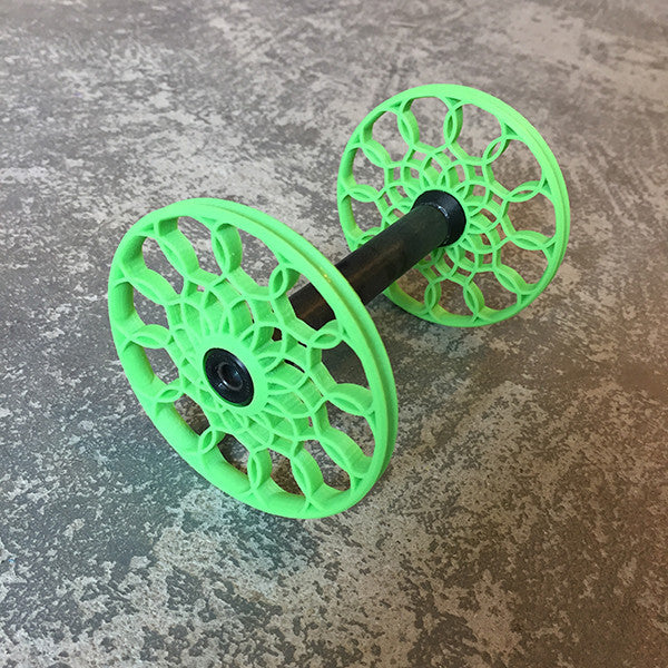 Flat-Pack Bobbin with Sunflower whorls in Grass Green