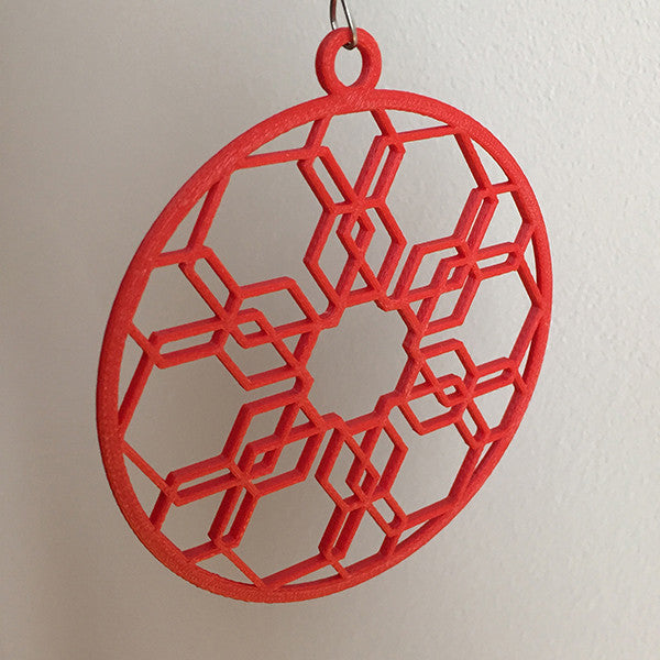 Holiday Ornament in Red Honeycomb