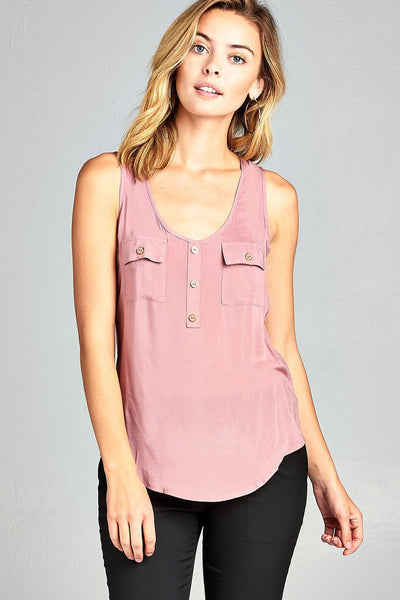 woven tank top w/ front double pockets & button detail