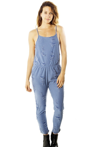distress overall jumpsuit romper