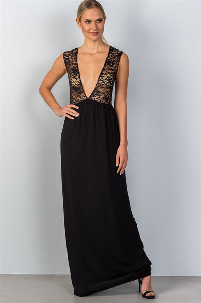 Sleeveless deep v plunge lace sheer maxi dress