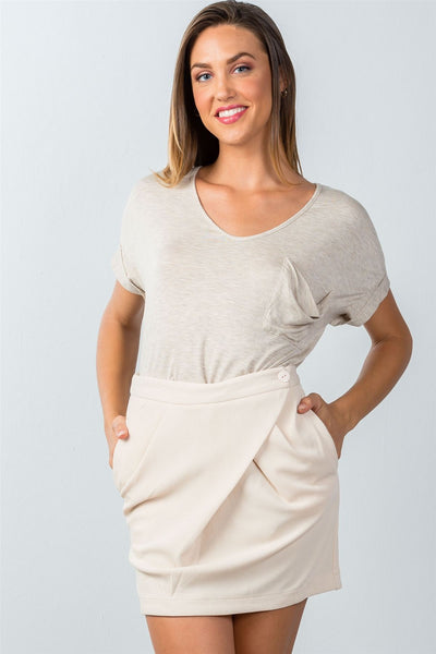 beige button closure front skirt with side pockets