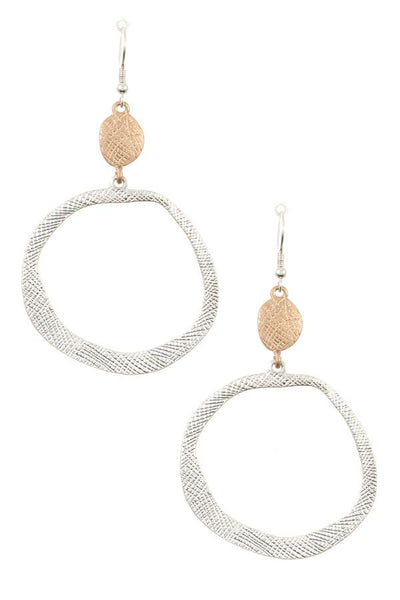 Textured ring drop dangle earring