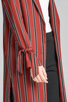 long sleeve notched collar side slit multi stripe long jacket
